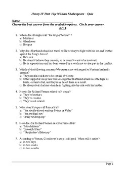 Henry IV Part 1 - Act 4 Multiple Choice Quiz / Assessment
