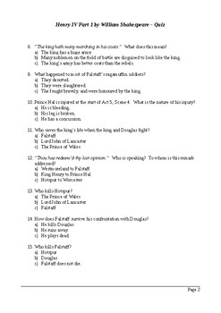 Henry IV Part 1 - Act 5 Multiple Choice Quiz / Assessment