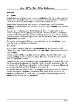 Henry IV Part 1 - Plot Summary as Cloze Test(s)