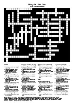 Henry IV Part One: Characters and Locations Crossword Puzzle