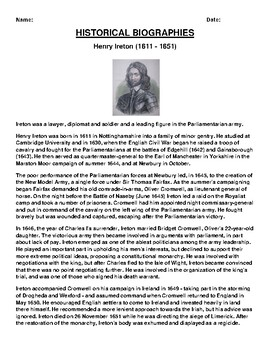 Henry Ireton Biography Article and (3) Assignments
