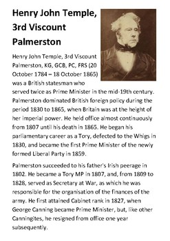 Henry John Temple, 3rd Viscount (Lord) Palmerston Handout