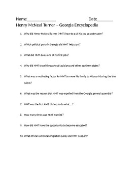 Henry McNeal Turner Questions - Aligned to Georgia Studies Standards