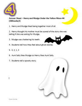 Henry & Mudge #4 Under the Yellow Moon- Question & Answer Sheets