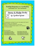 Henry & Mudge Reading Response and Vocabulary Activities for Literature Circles