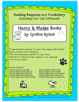 Henry & Mudge Reading Response and Vocabulary Activities f