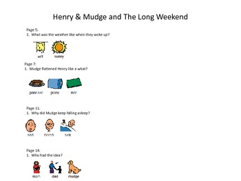 """Henry & Mudge and The Long Weekend by Cynthia Rylant """"Wh"""" Question Pack"""