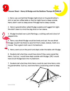 Henry & Mudge and the Bedtime Thumps - Question & Answer Sheets