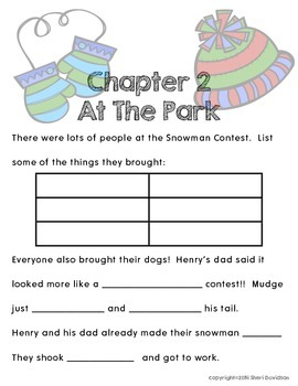 Henry & Mudge and the Snowman Plan {novel study and literacy activities}