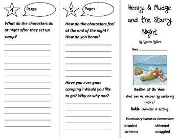 Henry & Mudge and the Starry Night Trifold - Reading Street 2nd Gr Unit 1 Week 3