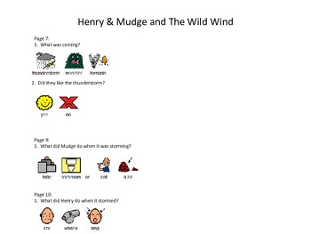 "Henry & Mudge and the Wild Wind by Cynthia Rylant ""Wh"" Question Pack"