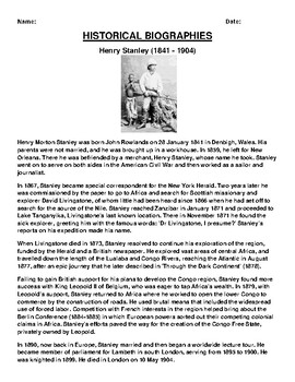 Henry Stanley Biography Article and (3) Assignments