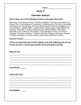 Henry V Character Analysis Activity - William Shakespeare