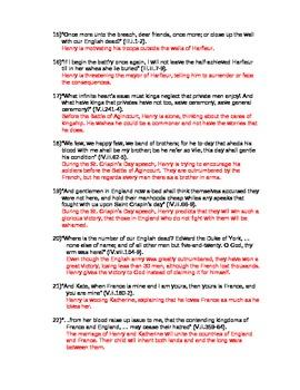 Henry V Unit Exam