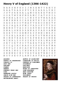 Henry V of England Word Search