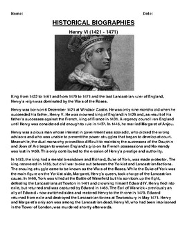 Henry VI  Biography Article and (3) Assignments