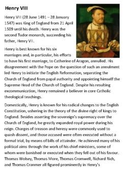 Henry VIII Handout