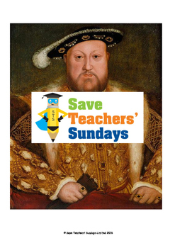 Henry VIII Lesson plan, Biorgaphy and Worksheets