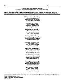 "Henry Wadsworth Longfellow: ""A Psalm of Life"" Romanticism Chart"