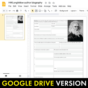 Henry Wadsworth Longfellow Author Study Worksheet, Easy Biography Activity, CCSS