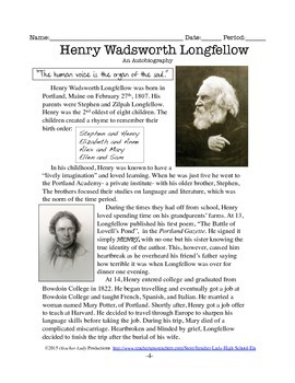 """Henry Wadsworth Longfellow: """"The Ropewalk"""" and """"The Cross of Snow"""" Mini Unit!"""