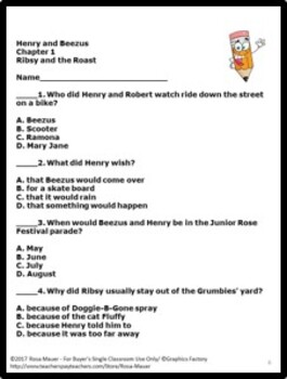 Henry and Beezus Book Unit Printables