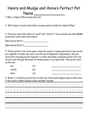 Henry and Mudge: Annie's Perfect Pet Reader Response Worksheet