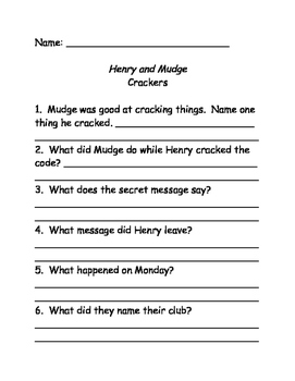 Henry and Mudge Comprehension Questions Bundle #1