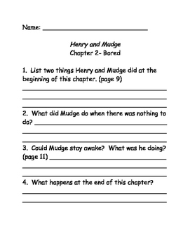 Henry and Mudge Comprehension Questions Bundle #3