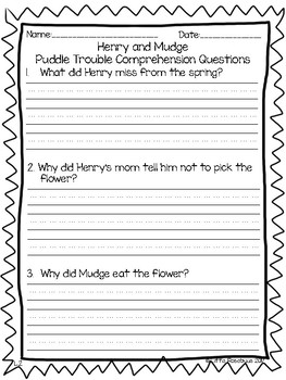 Henry and Mudge Comprehension Questions ~ Puddle Trouble