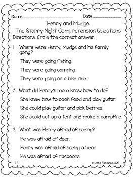 Henry and Mudge Comprehension Questions ~ The Starry Night