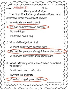 Henry and Mudge Comprehension Questions Bundle