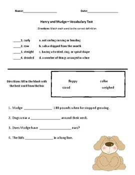 Henry and Mudge Comprehension and Vocabulary Test (Journey's)