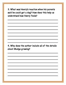 Henry and Mudge Deeper Thinking Questions