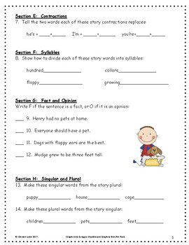 Henry and Mudge ~ Language Arts Workbook ~ 2nd Grade ~ HMH Journeys
