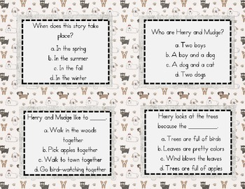 Henry and Mudge Quiz Quiz Trade Cards Harcourt Trophies 2nd