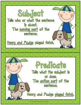 Henry and Mudge:  Subjects and Predicates