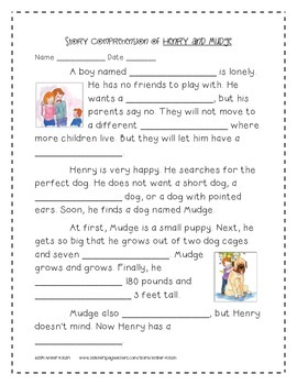 Henry and Mudge Supplemental Activities 2nd Grade Journeys Unit 1, Lesson 1