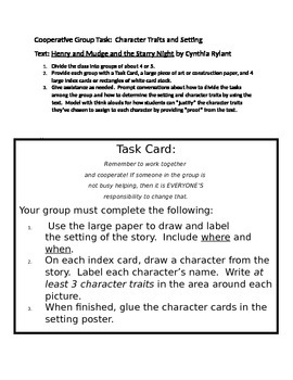 Henry and Mudge Task Card