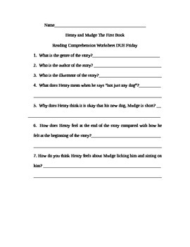 Henry and Mudge The First Book Comprehension/Vocabulary Worksheet