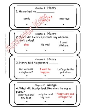 Henry and Mudge The First Book QR Codes & Poke Cards