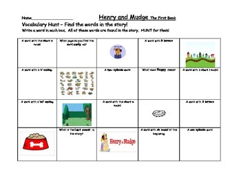 Journeys 2nd grade Henry and Mudge The First Book Vocabulary Hunt