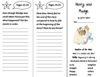 Henry and Mudge Trifold - Journeys 2nd Gr Unit 1 Week 1 (2