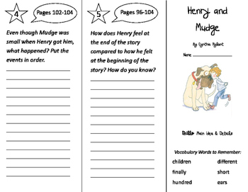 Henry and Mudge Trifold - Storytown 2nd Grade Unit 1 Week 3