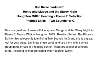 Henry and Mudge - Two Sounds for G Sorting Cards - Houghton Mifflin