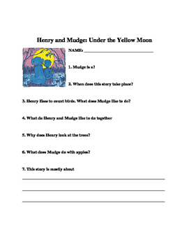 Henry and Mudge: Under the Yellow Moon Comprehension Questions