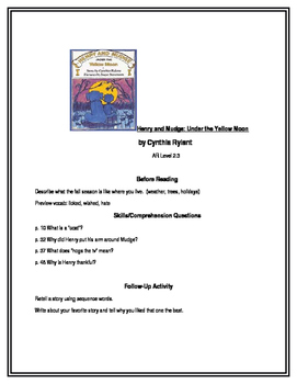 Henry and Mudge: Under the Yellow Moon for Guided Reading
