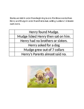 Henry and Mudge Worksheets