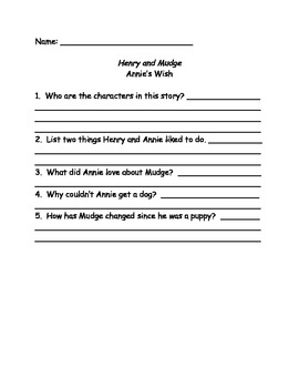 Henry and Mudge and Annie's Perfect Pet comprehension questions