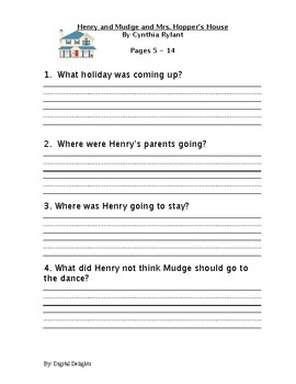 Henry and Mudge and Mrs. Hopper's House Reading Comprehension Questions